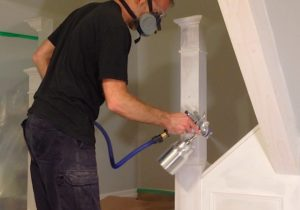 HVLP spray painting wainscoting