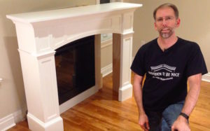 Fireplace mantel before installation